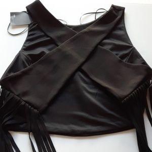 Zara Fringed Black cross back crop top size large